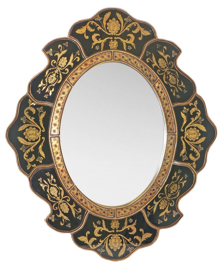 Scalloped Wall Mirror, Classical Black