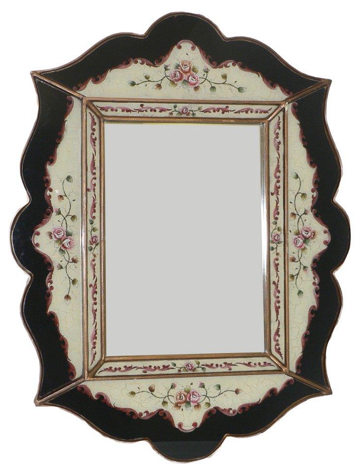 Scalloped Wall Mirror, Verona Black