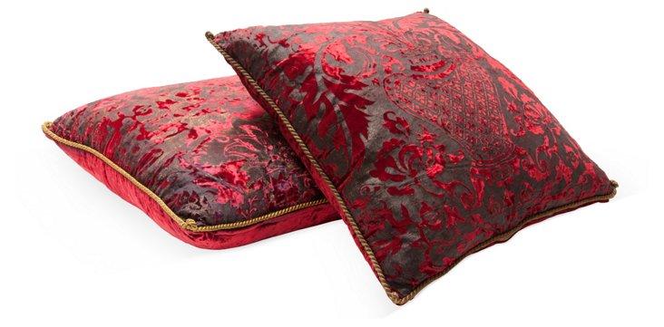Hand-Painted Silk Velvet Pillows, Pair