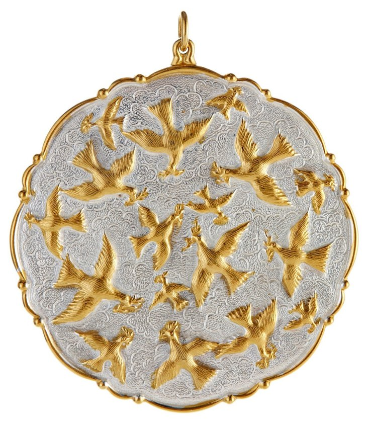 Doves of Peace Ornament, Silver w/ 18K Gold