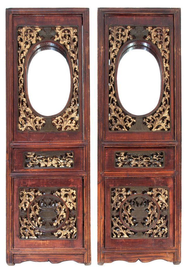 Chinese Wood Panels w/ Mirrors, Pair