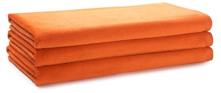 S/3 Beach Towels, Orange