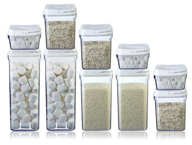 10-Pc Food Storage Containers, White