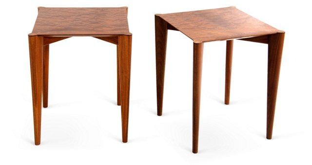 Hand-Crafted Lo Tables, Pair