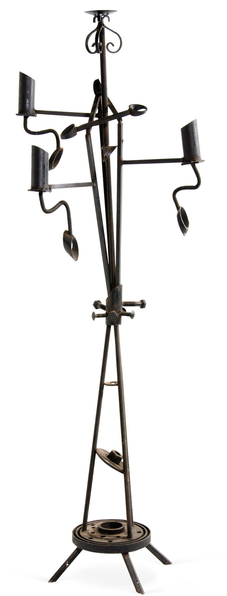 Iron Sculptural Candelabrum