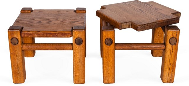 Hand-Crafted Oak Occasional Tables, Pair