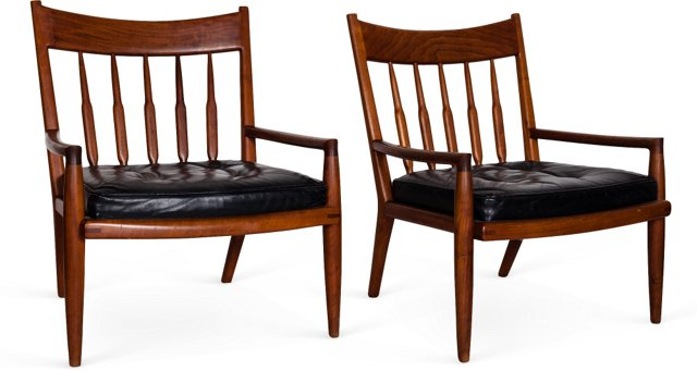John Nyquist Spindle-Back Chairs, Pair