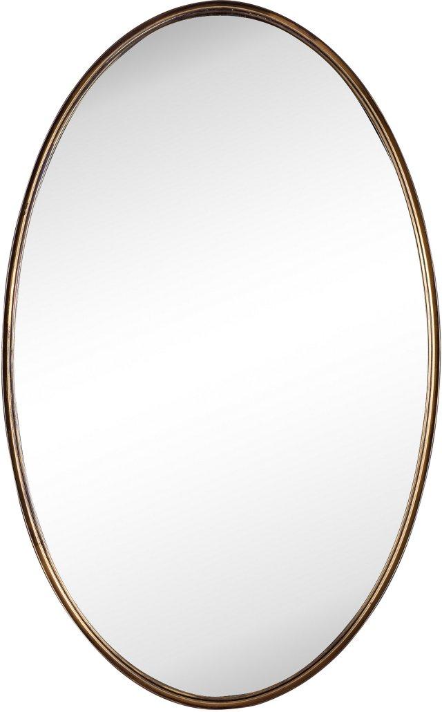 Brass Oval Mirror