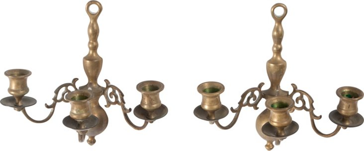 Dutch Candle Sconces, Pair