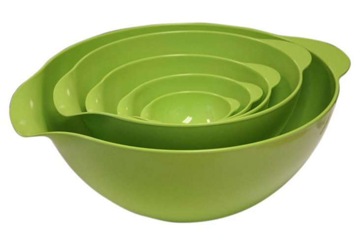 S/5 Assorted Mixing Bowls, Lime