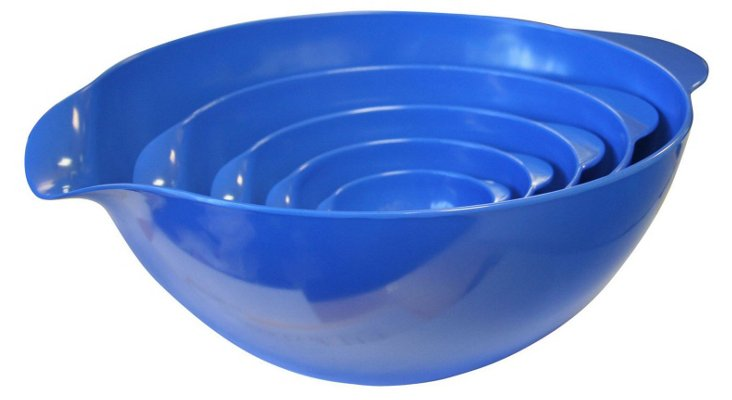 S/5 Assorted Mixing Bowls, Azure