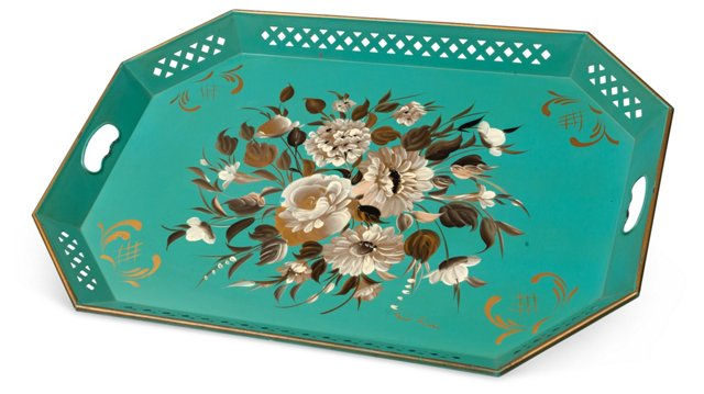 Turquoise Tole Tray