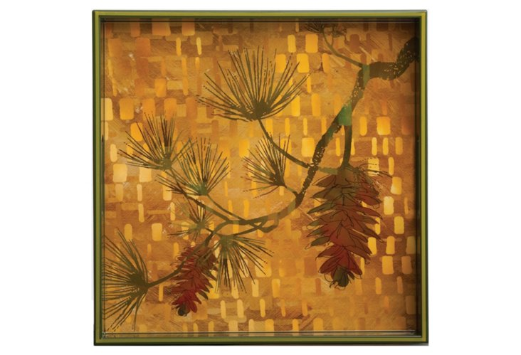 "Autumn Pine Square Tray, 15"""