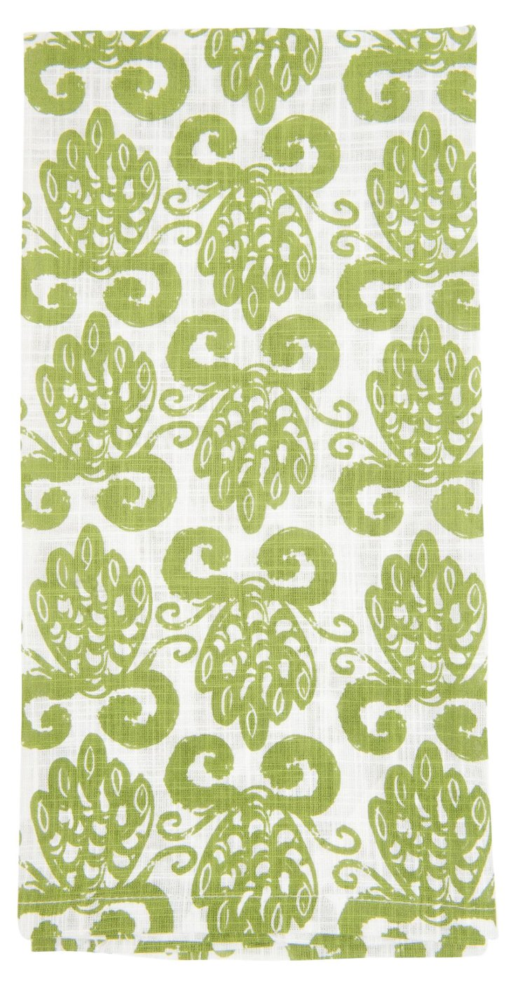 S/6 Pineapple Kitchen Towels, Forest