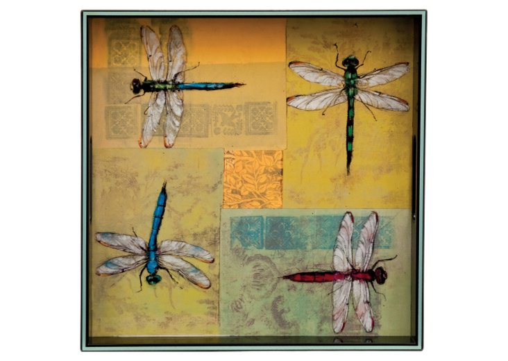 """15"""" Golden Ring Dragonfly Square Tray"""