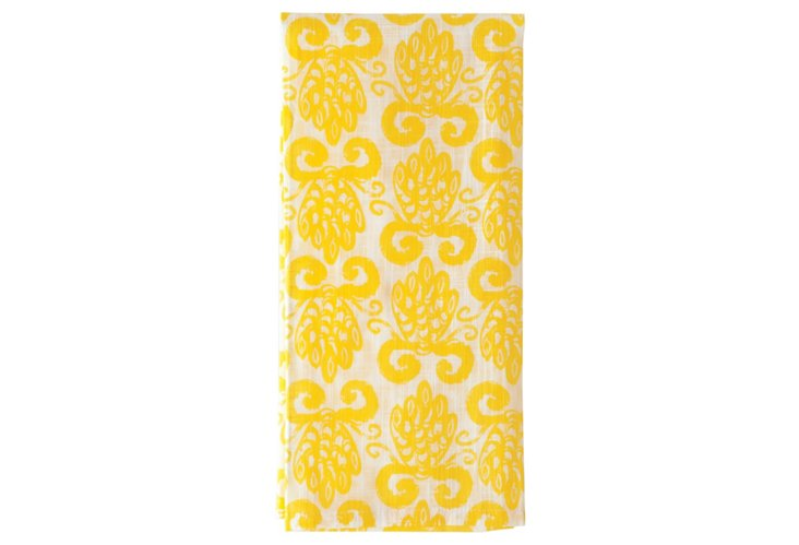 S/3 Kitchen Towels, Yellow Pineapple