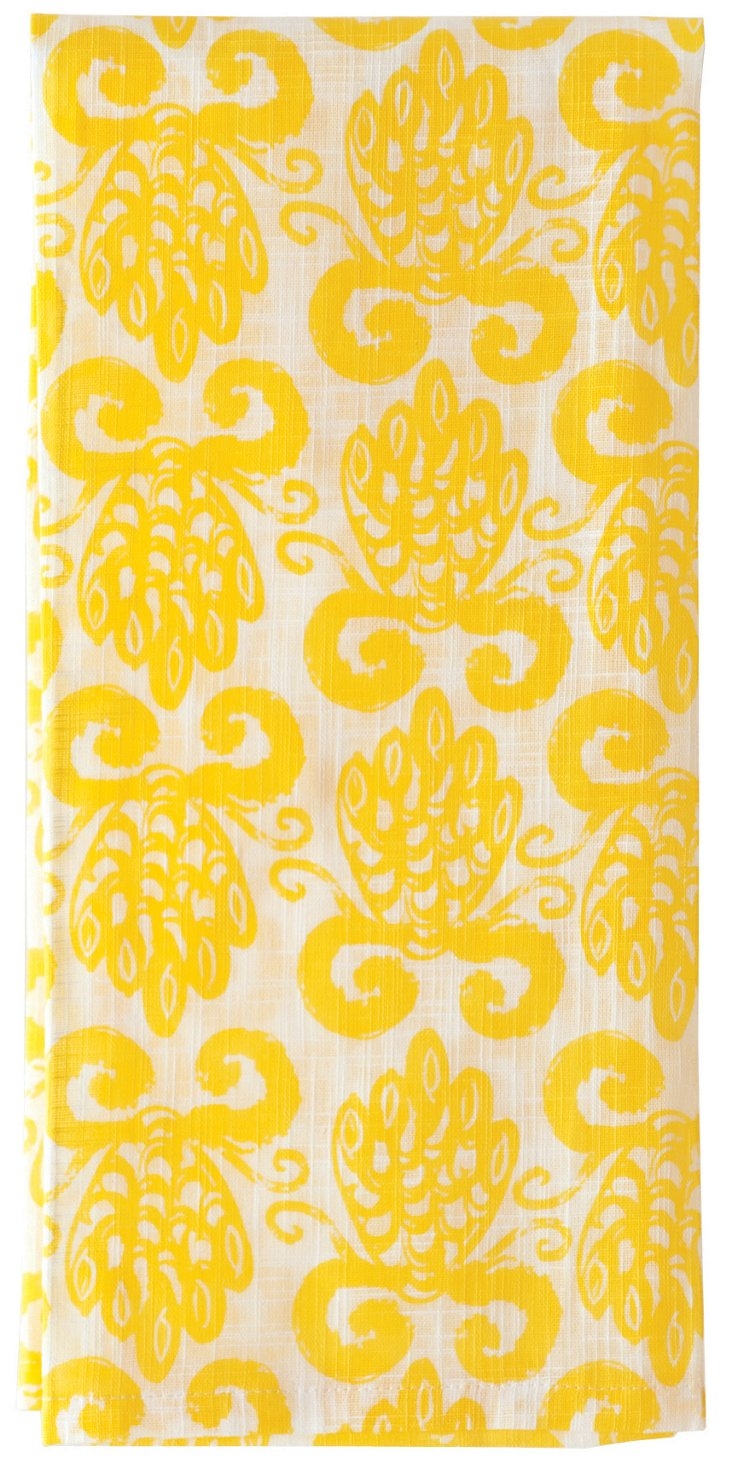 S/6 Pineapple Kitchen Towels, Yellow