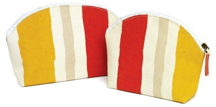 S/2 Zip Bags, Lemon/Red