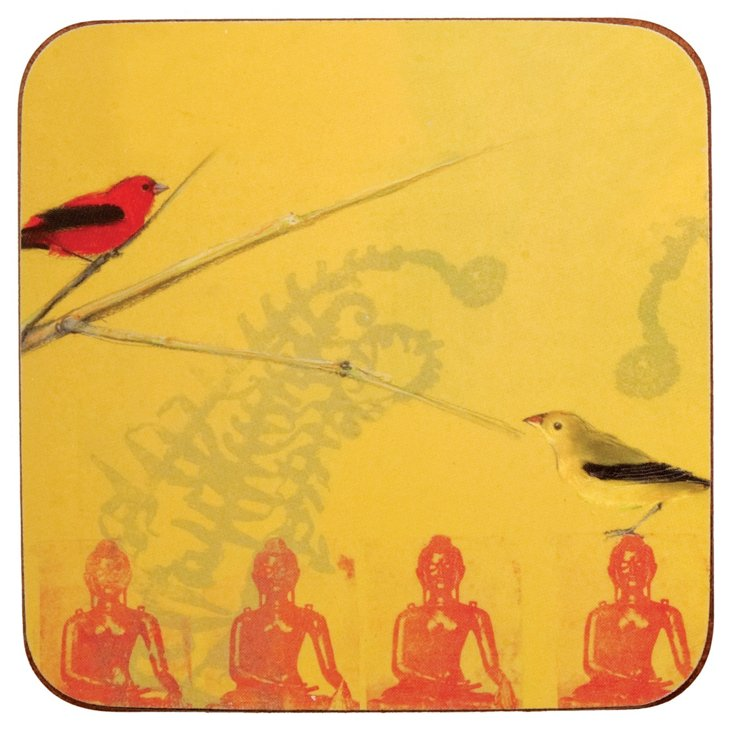 S/8 Warbler On Buddha Coasters