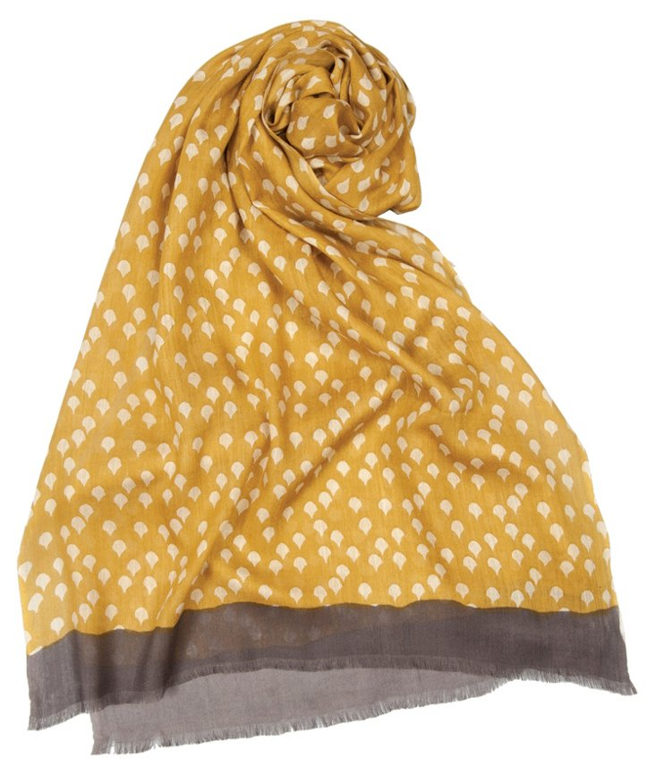 Diwali Dotted Drop Scarf, Gold/Brown