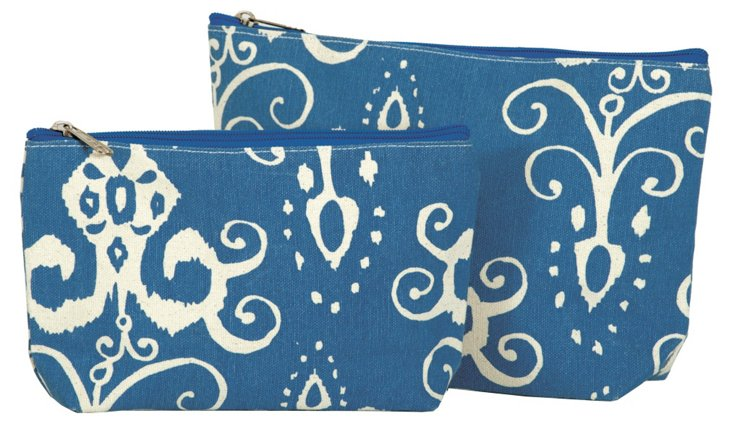 S/2 Roussillion Zip Bags, Azure/White