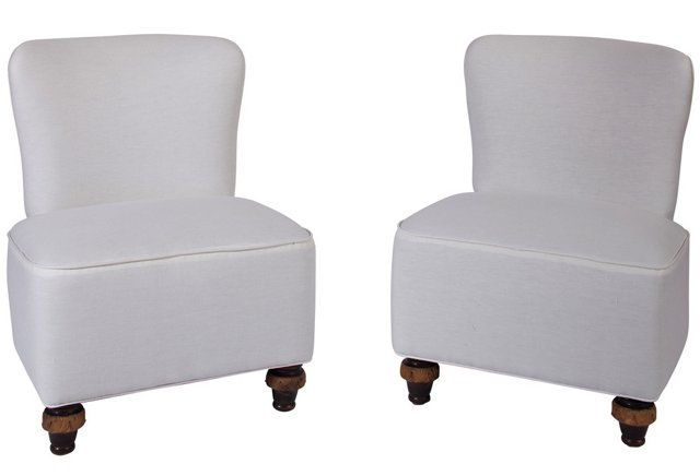 19th-C. Spanish Slipper Chairs, Pair