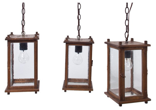 19th-C. Lantern Fixtures, Set of 3