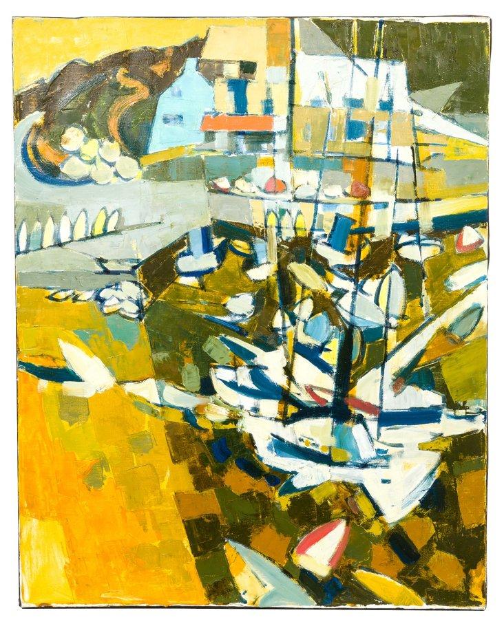 H. Kornfeld 'The Port' Oil Painting