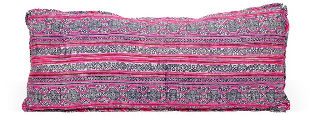 Vintage Tapestry Pillow, Pink/Gray