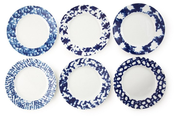 S/6 Assorted Porcelain Sponged Plates
