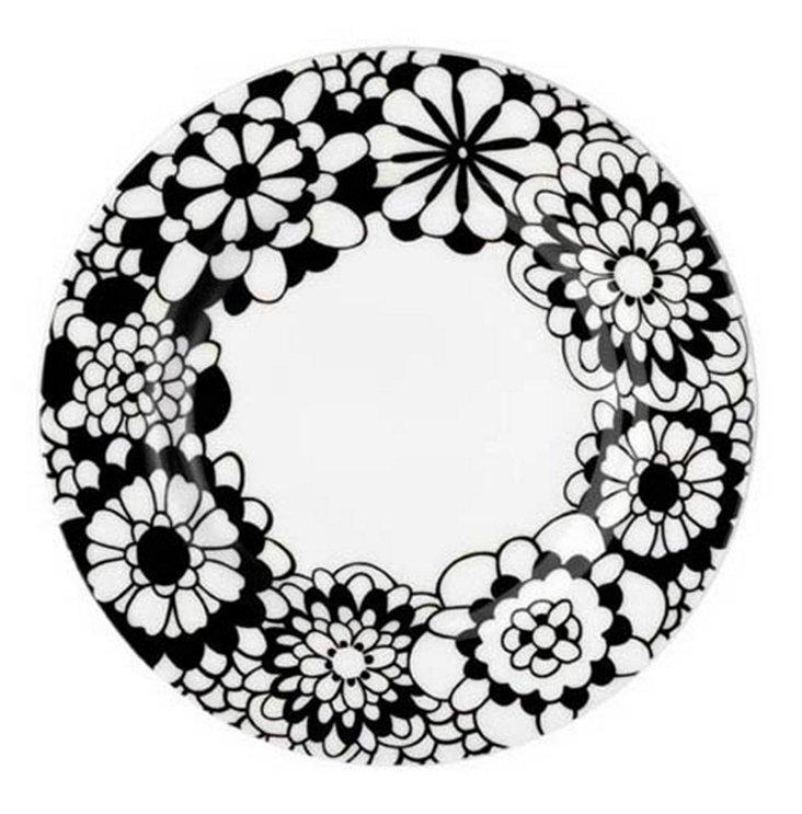 Salad Plate, Black/White