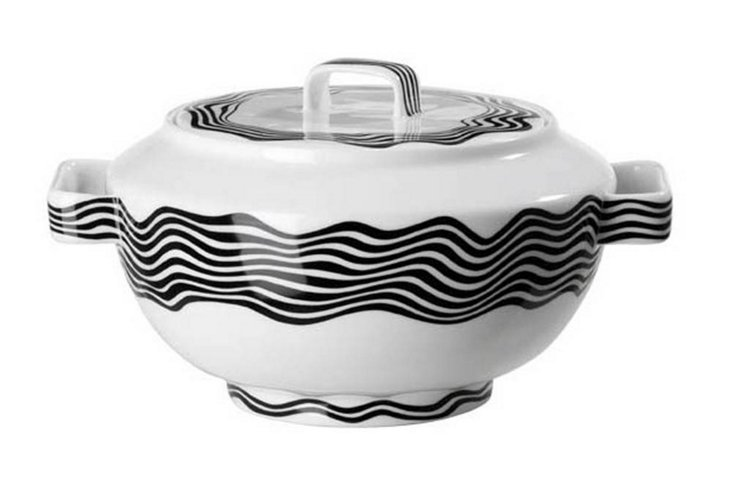 Tureen w/ Cover, Black/White