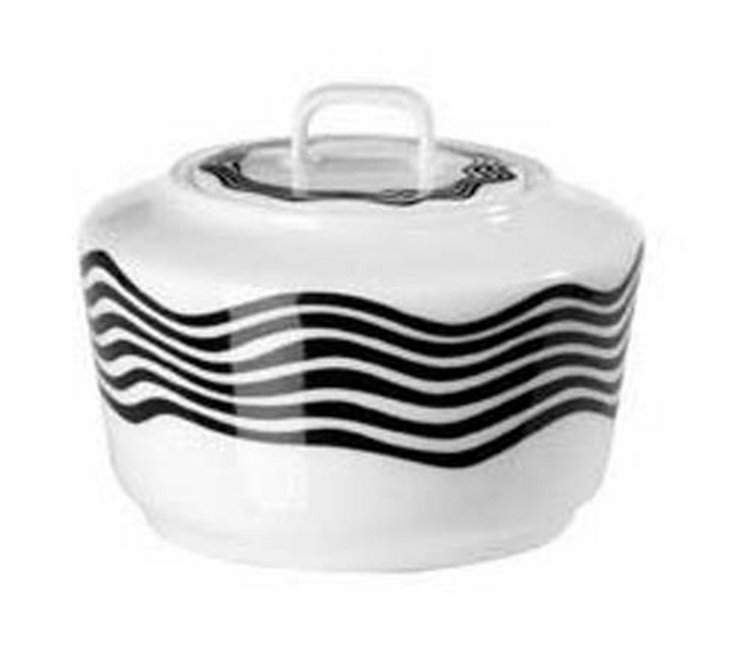 Covered Sugar Bowl, Black/White