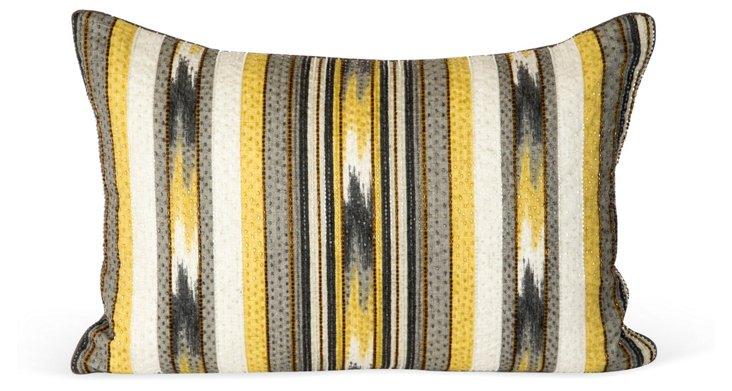 Ikat Striped & Beaded Pillow
