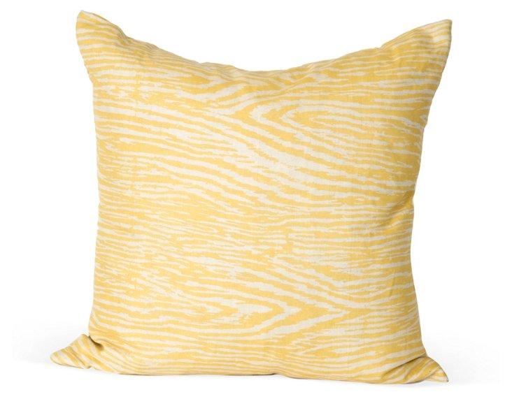 Yellow Faux Bois Pillow
