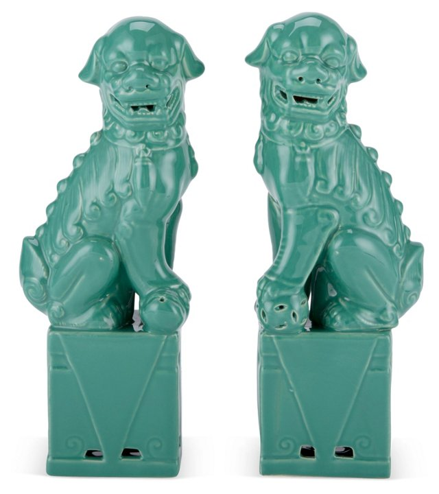 Asst. of 2 Sitting Foo Dogs, Green