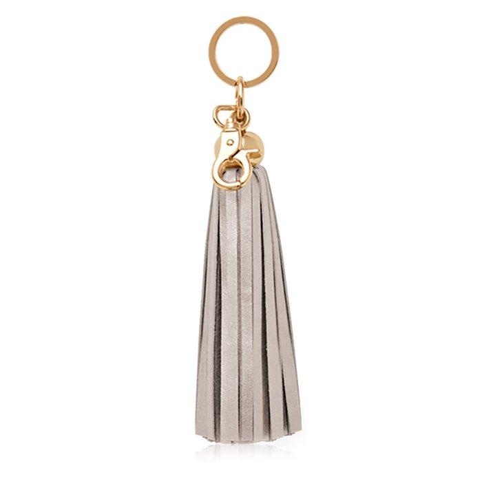 Leather Tassel Key Chain, Silver