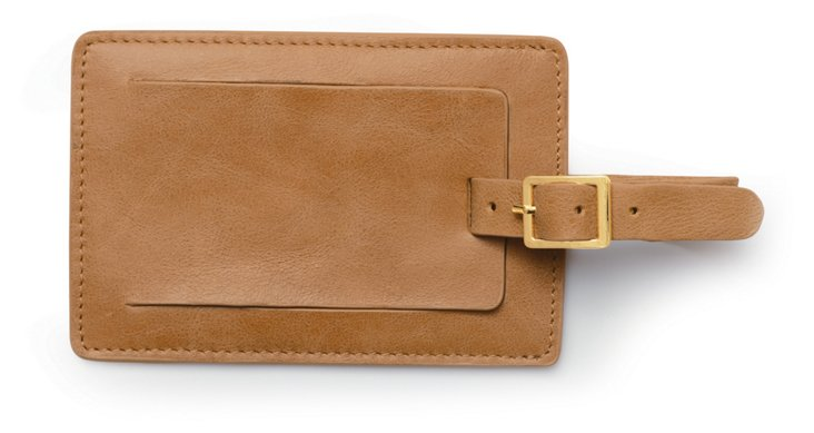 Leather Luggage Tag, Camel