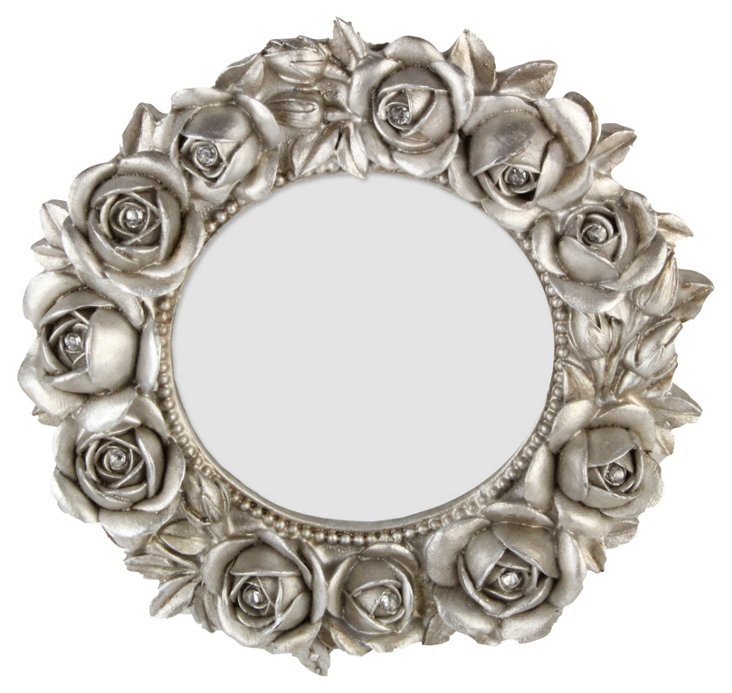 Round Rose Frame, 3x3, Silver