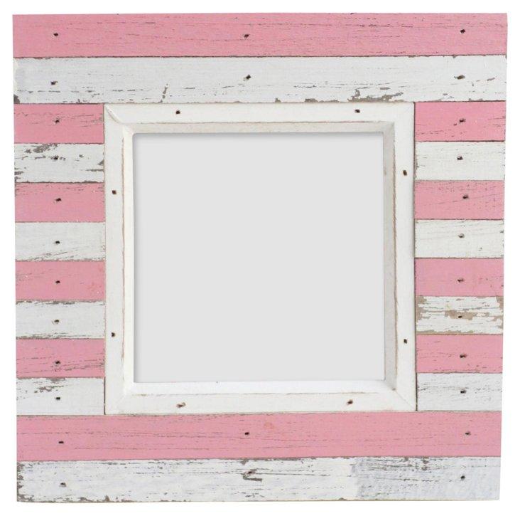 Striped Wood Frame, 4x4, Pink/White