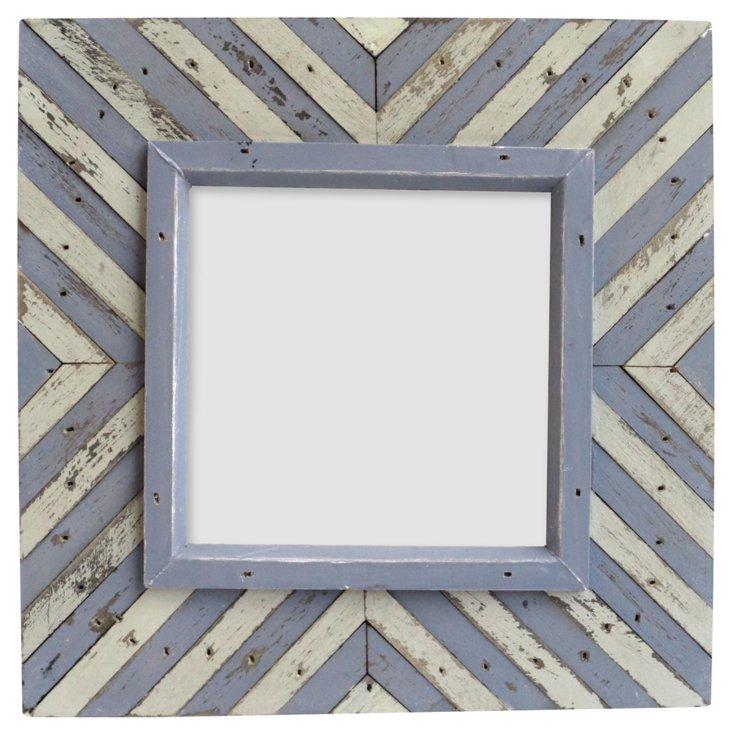 V Striped Wood Frame, 4x4, Purple/Cream