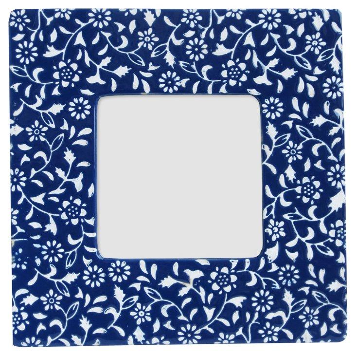 Floral Frame, 4x4, Navy