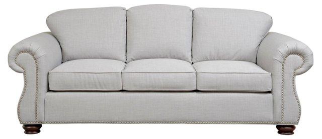 "Aspen 84"" Nail-Trim Sofa, Silver"