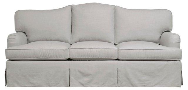 "Warrick 84"" Skirted Sofa, Gray"