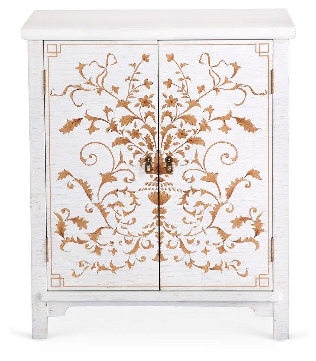 Gwen Storage Cabinet, Antique White/Gold