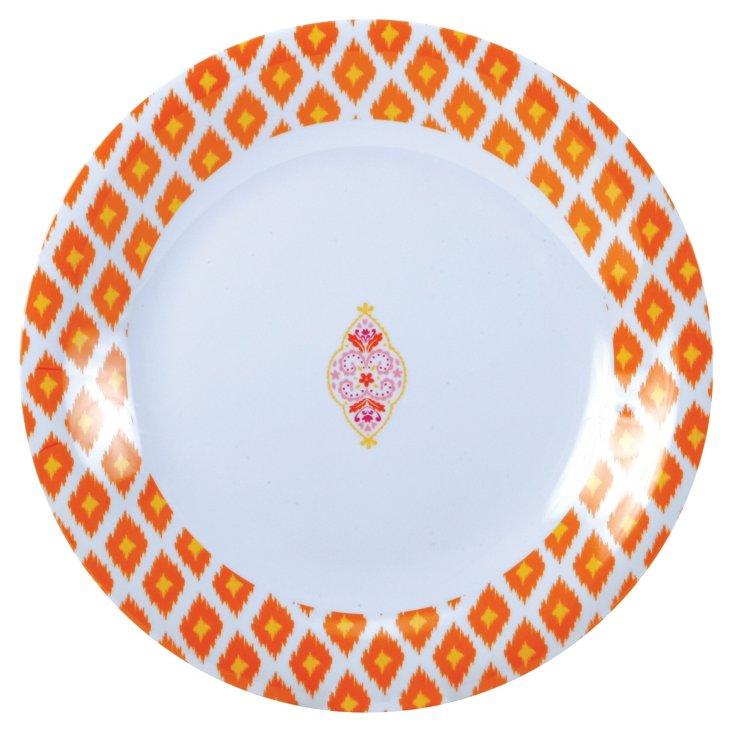 S/8 Melamine Dinner Plates, Orange Ikat