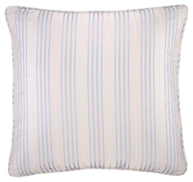 Paltne Silk Stripe Throw Pillow, Sky