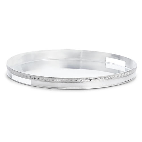 Cairo Round Serving Tray, Silver
