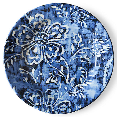 Cote D'Azur Floral Dinner Plate, Navy/White