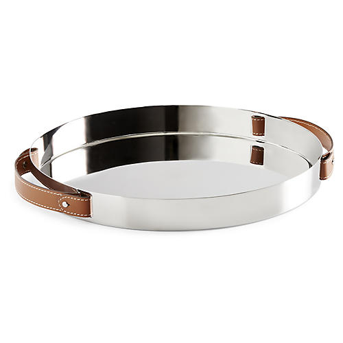 Wyatt Round Serving Tray, Silver/Saddle Brown